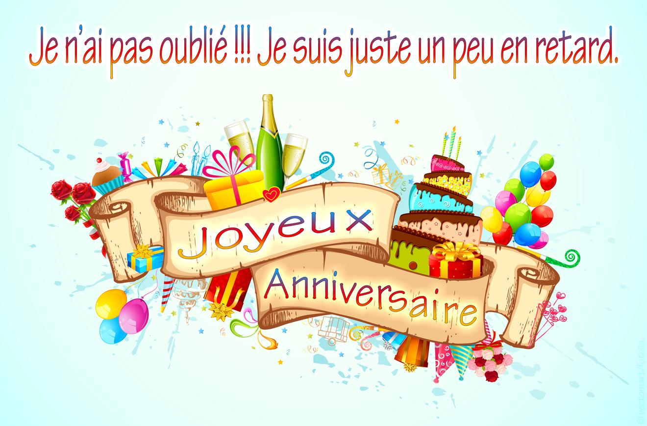 Top Cartes joyeux anniversaire en retard GN62