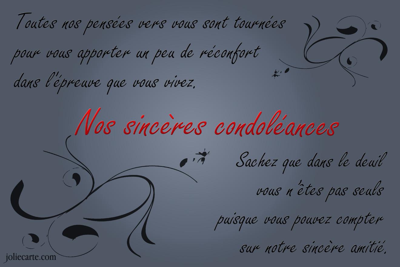 Sinceres condoleances amitie