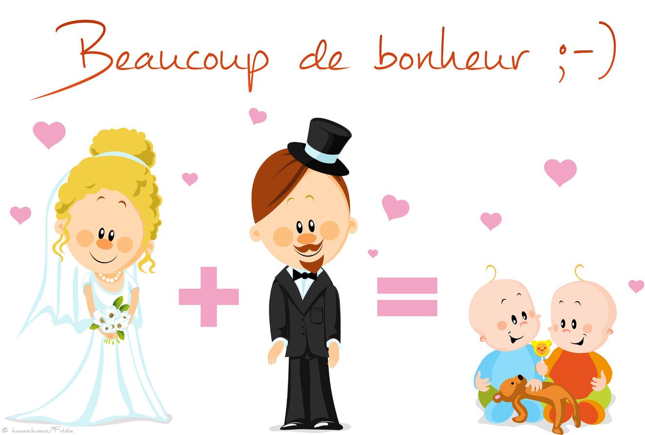 Carte voeux bonheur mariage gratuite