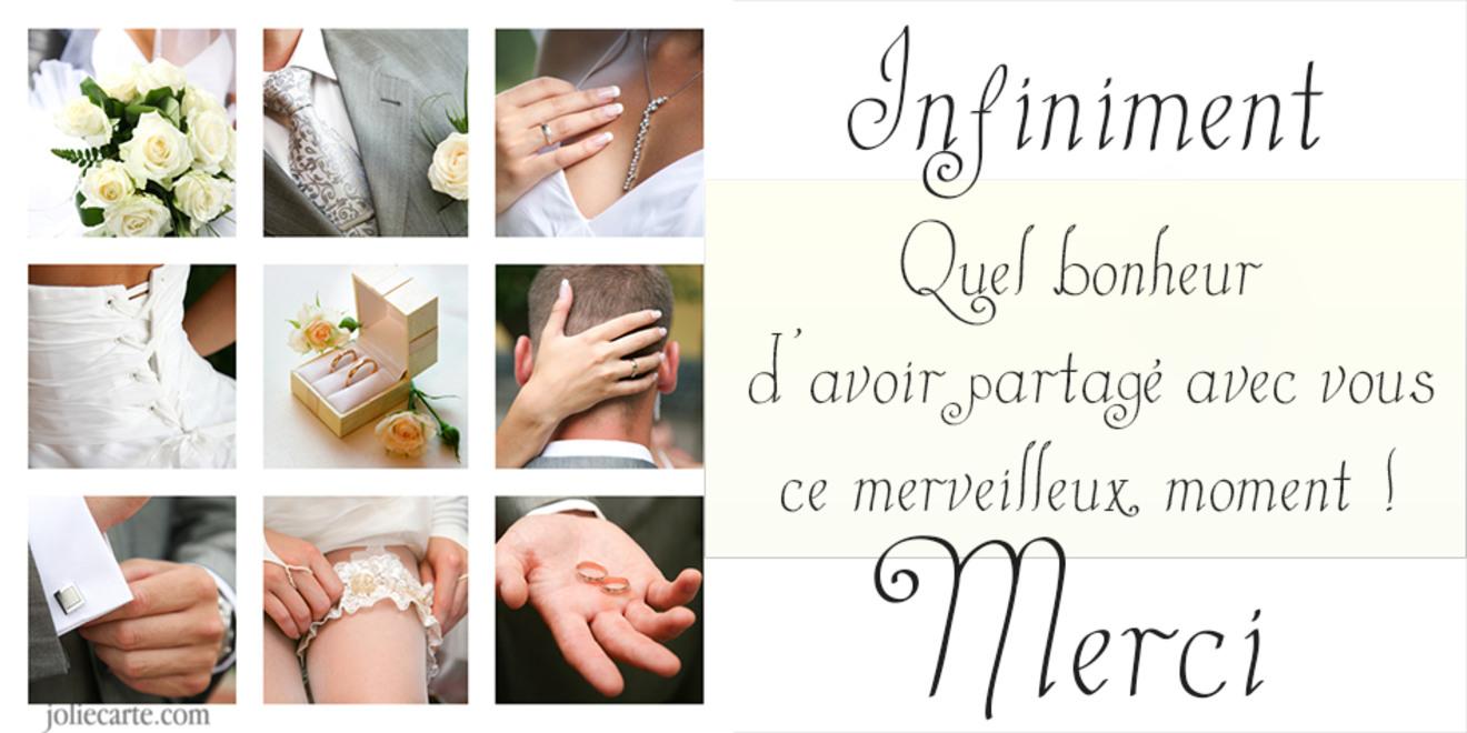 Carte remerciements mariage