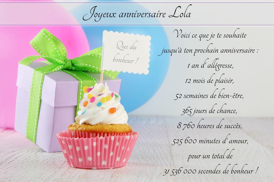 Joyeux Anniversaire Lola Carte Anniversaire